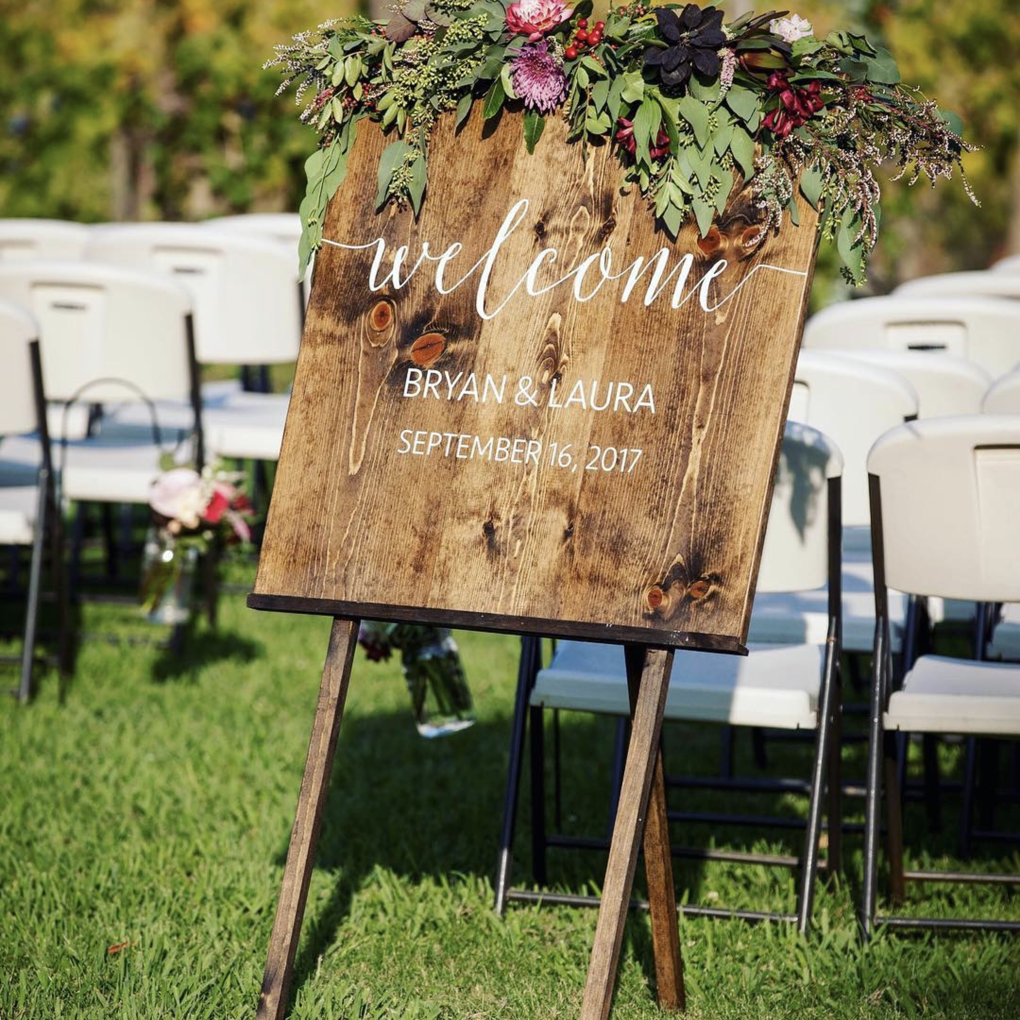 Wedding welcome sign with wood easel rental sacramento