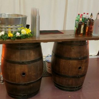 Wine barrel bar table rental