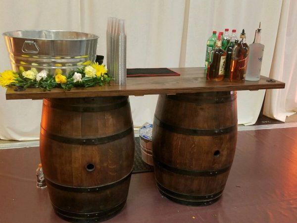 Wine barrel bar table rental