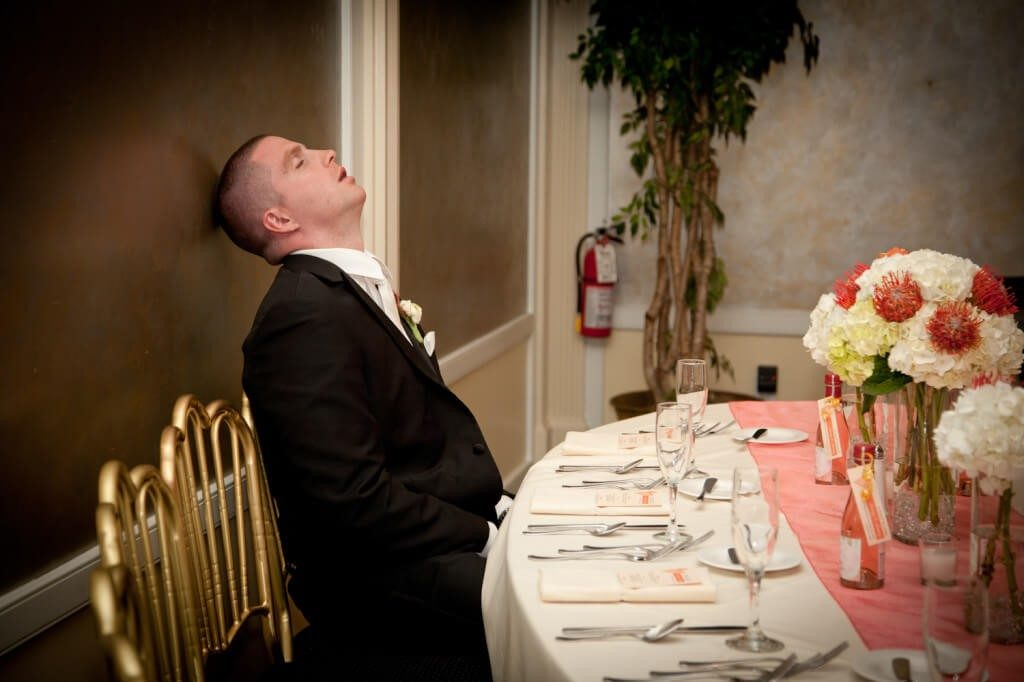 exhausted groom