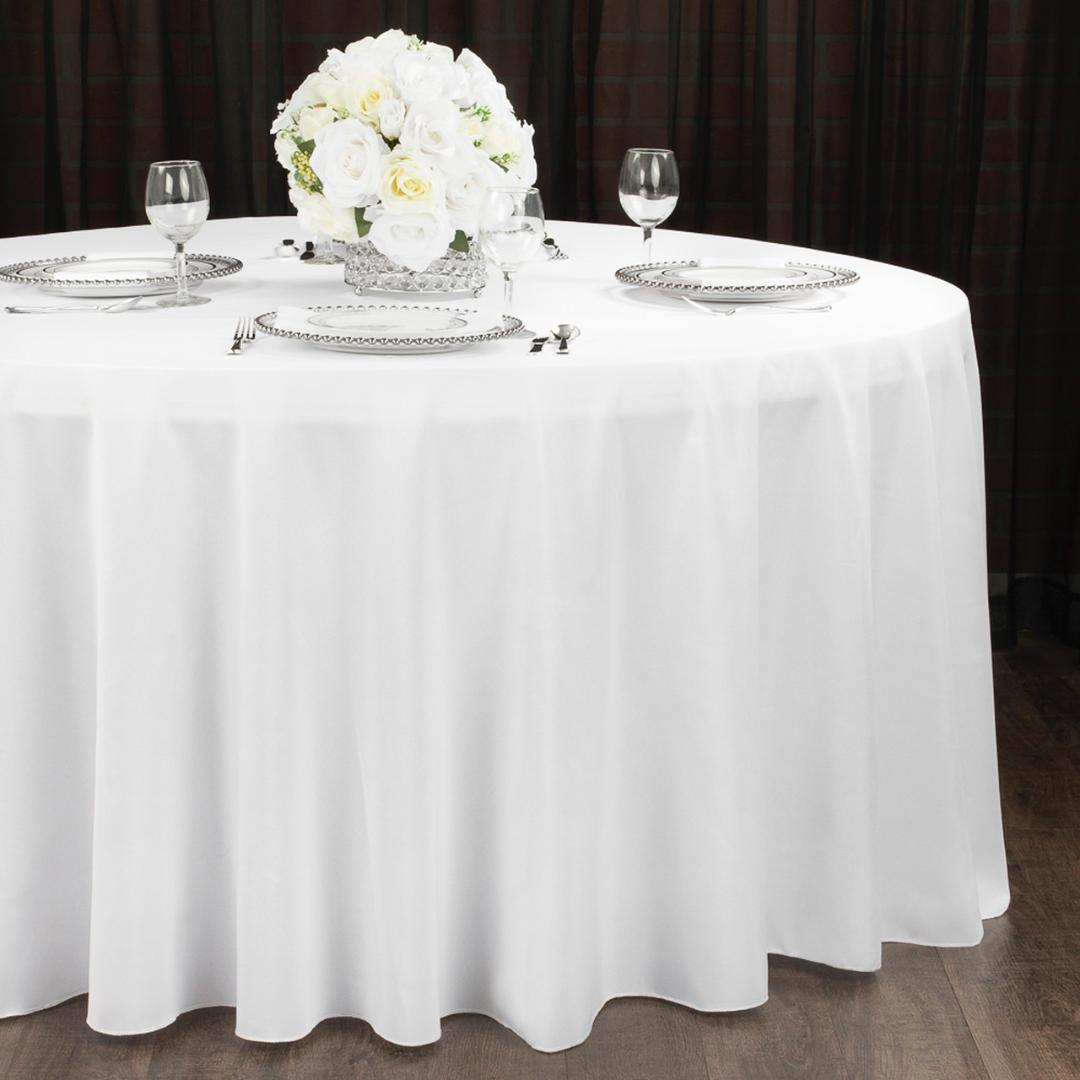 White Round Tablecloth Rental