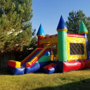 castle bounce house with slide