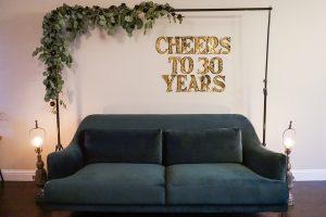 30th birthday backdrop simple elegant