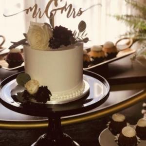 Cake Stand Black Milk Glass