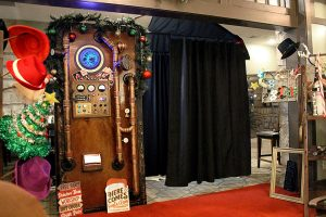 Christmas holiday steampunk wedding photo booth rental