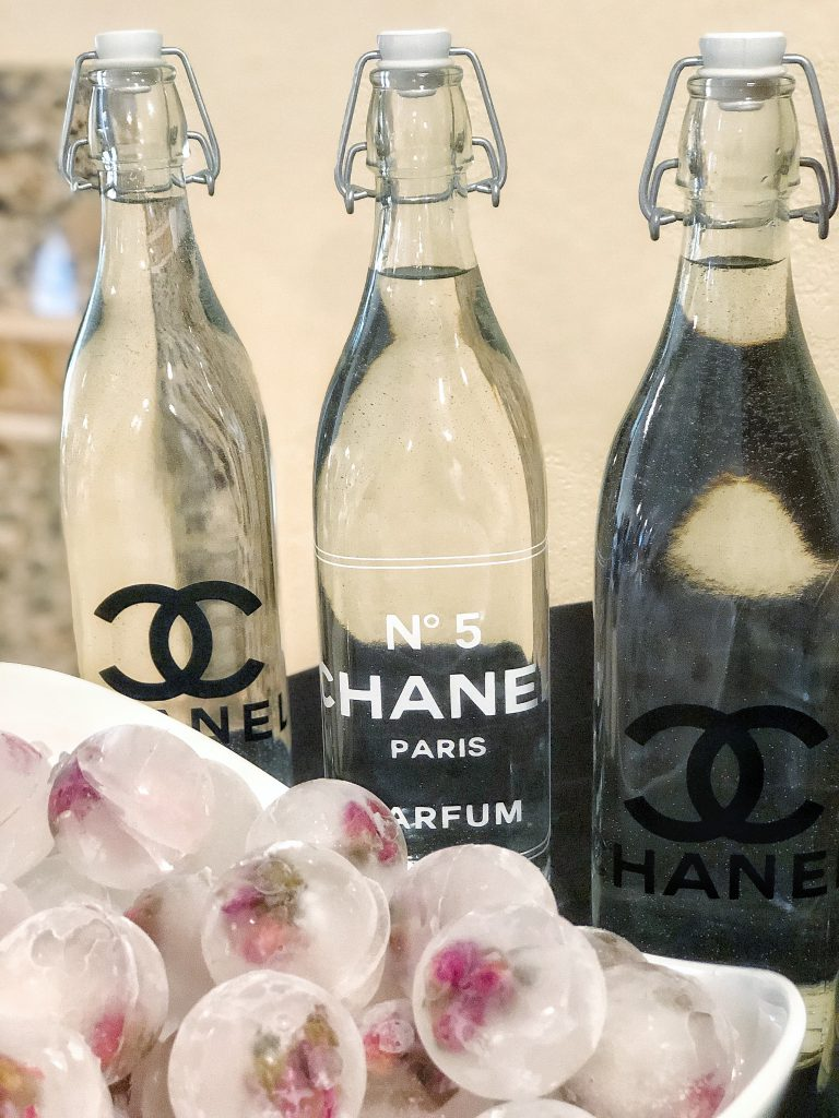 chanel party decor, coco chanel stickers