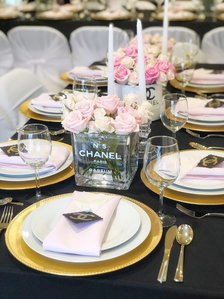 chanel party centerpieces, coco chanel perfume bottle flowers