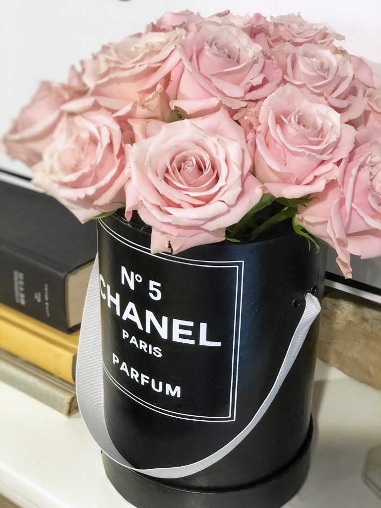 chanel party ideas, chanel party decor, chanel theme hat boxes