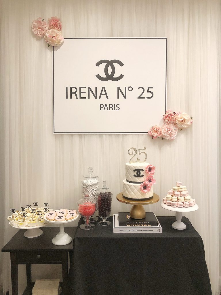 chanel backdrop, chanel theme party, chanel birthday cake, chanel dessert table