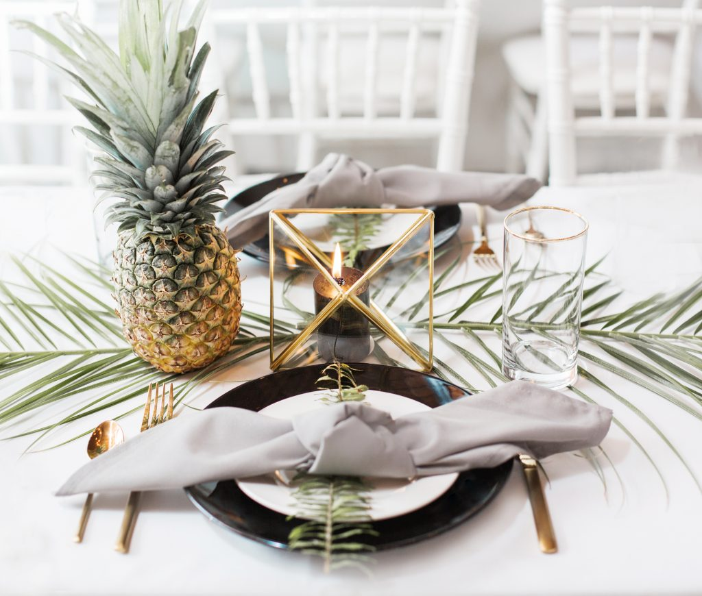 tropical theme 30th birthday chic party ideas botanical modern centerpiece pineapple geometric