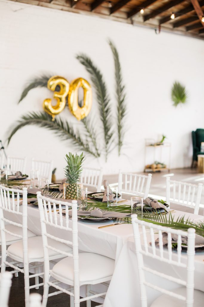 tropical theme 30th birthday chic party ideas decor ideas backdrop