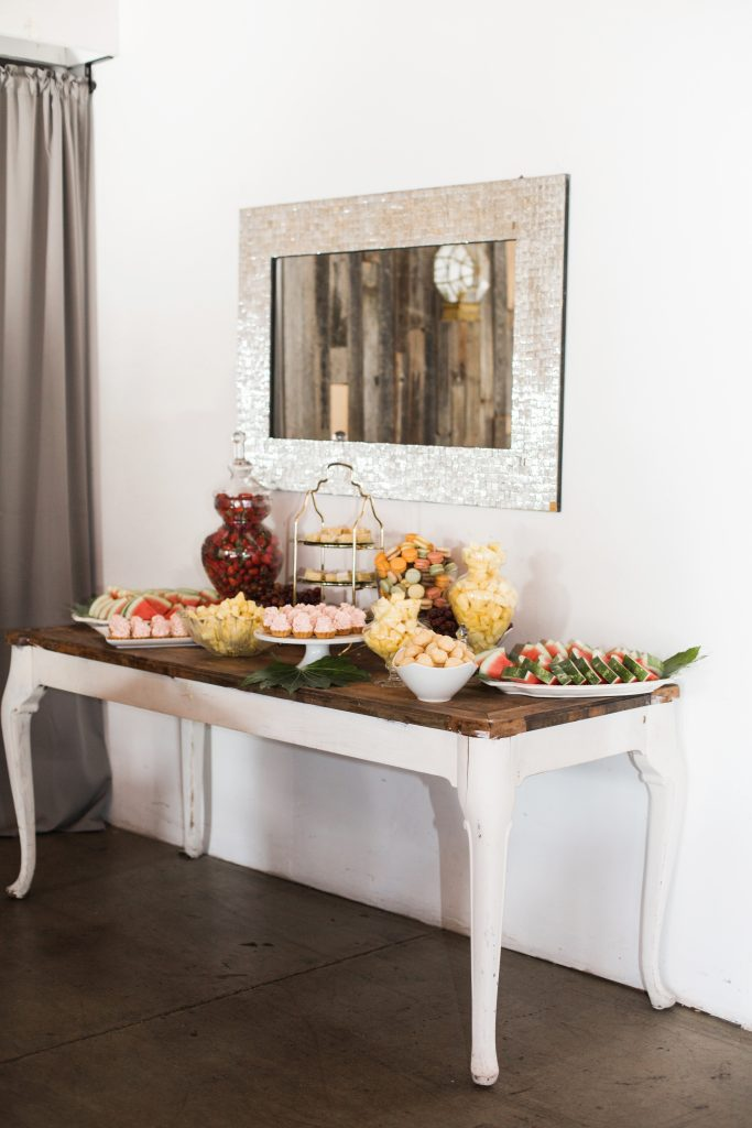 tropical botanical cake dessert table sweets modern