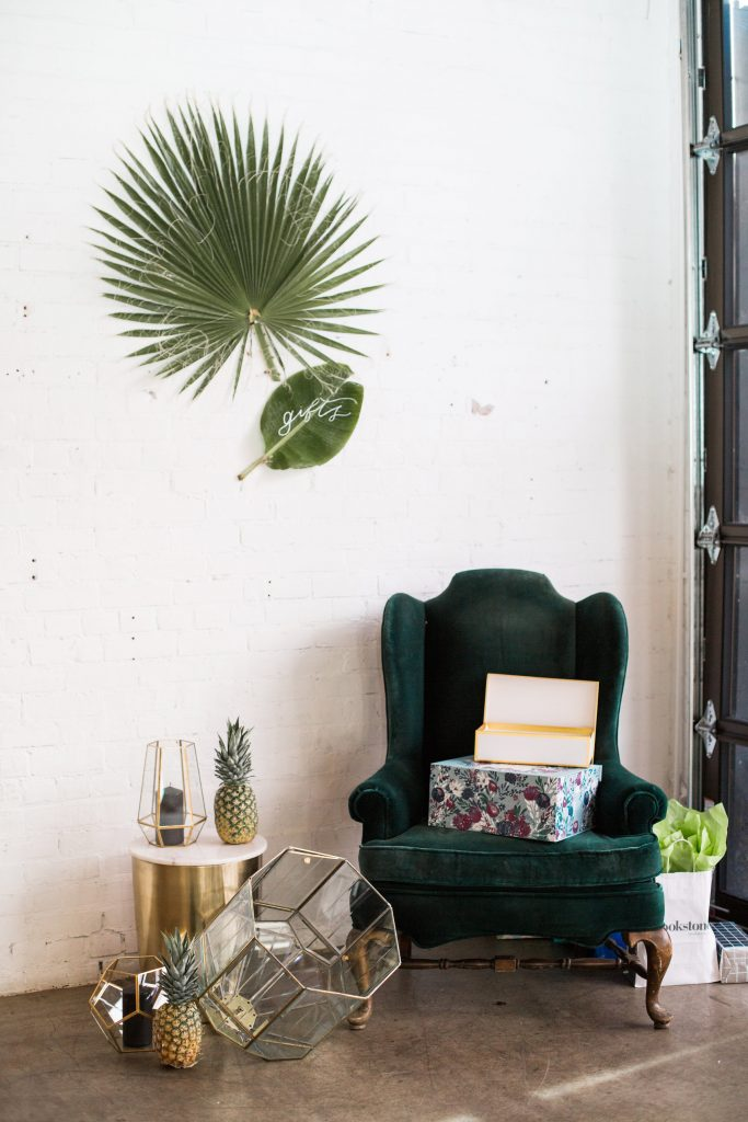 gift area chair tropical botanical modern party theme