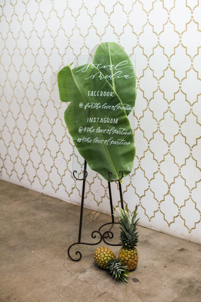 tropical theme 30th birthday chic party ideas botanical calligraphy modern