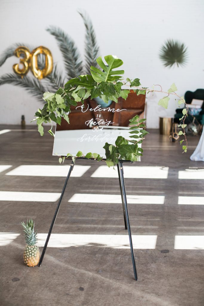 tropical theme 30th birthday chic party ideas welcome sign