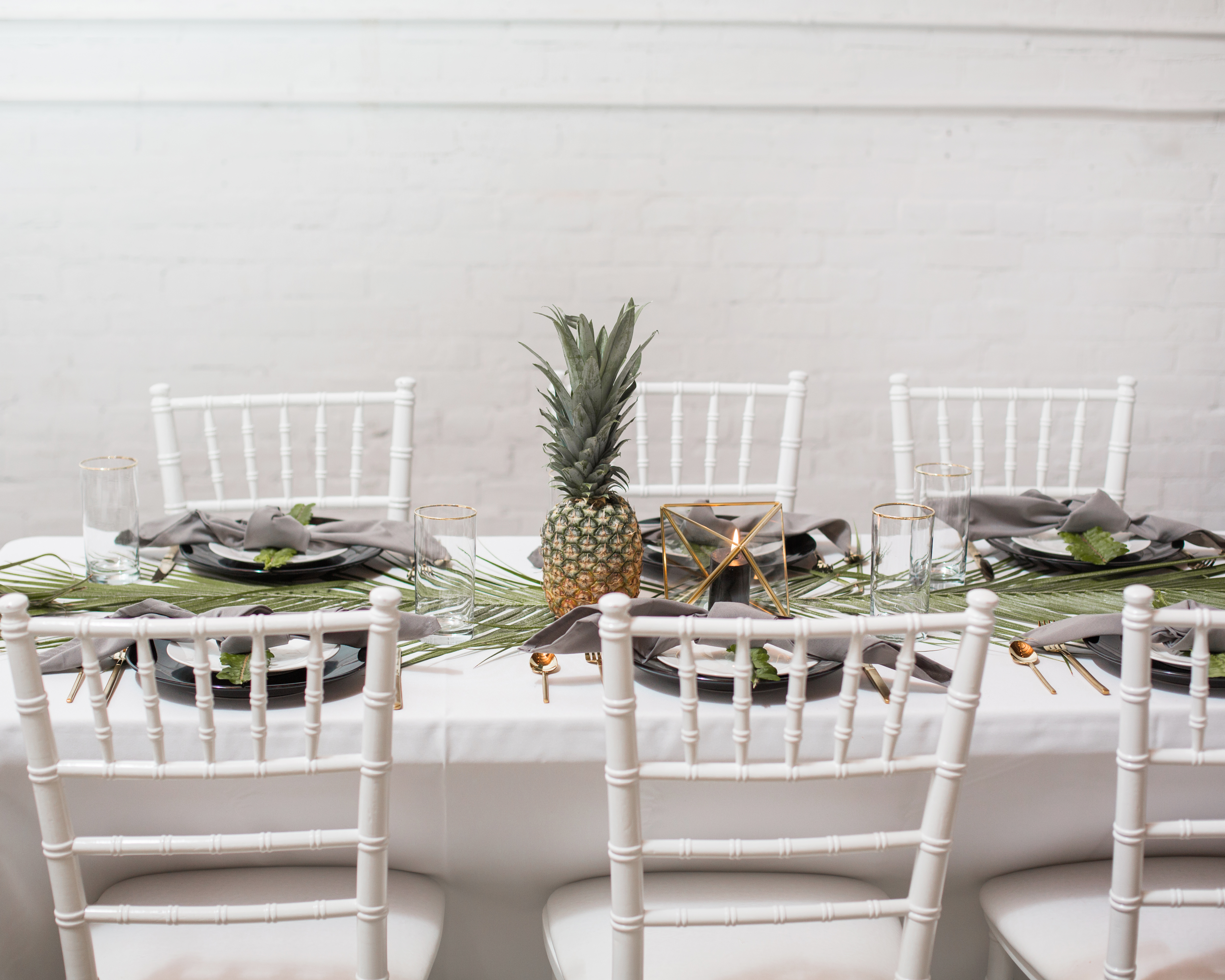 Was A Perfect Fit For Tropical 30th Birthday Party All The Dinnerware And Geometric Lanterns Were Provided By Anya From Stella Rentals Design