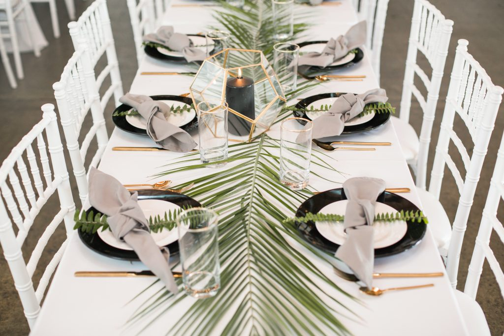 tropical theme 30th birthday chic party ideas botanical modern centerpiece minimalistic geometric