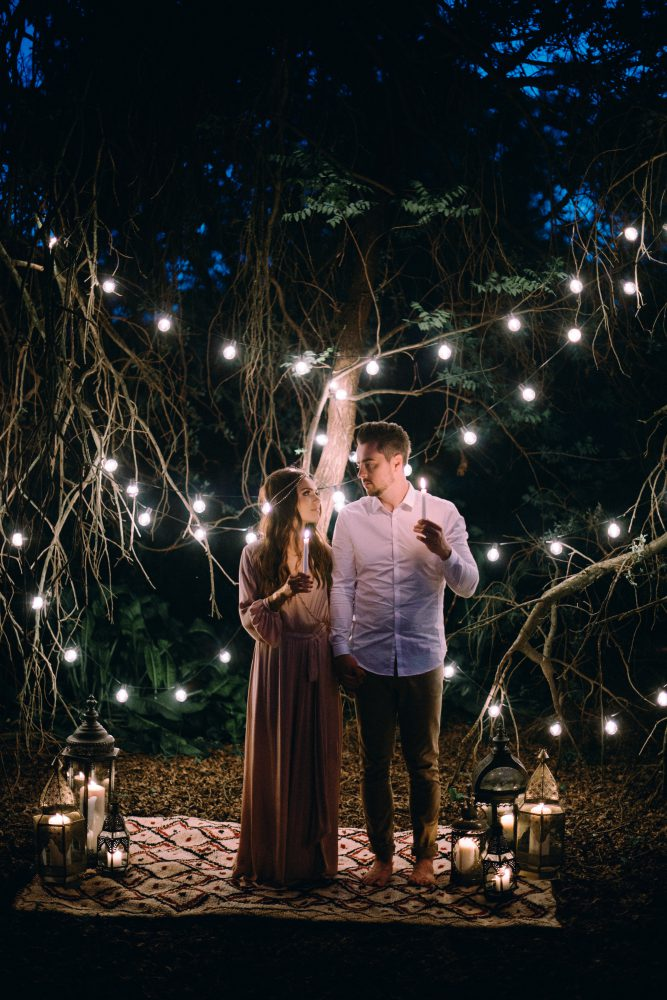 ceremony bohemian wedding boho dress style decor ideas bride couple lanterns