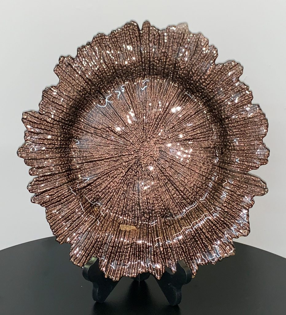 Glass Charger Plate Brown Sponge Eventlyst